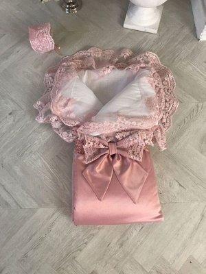 """Зимний Конверт-одеяло на выписку """"Королевский"""" (розочка с розовым кружевом)"""