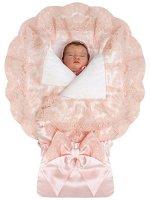 """Летний конверт-одеяло на выписку """"Милан"""" атлас (нежно-розовый с розовым кружевом)"""
