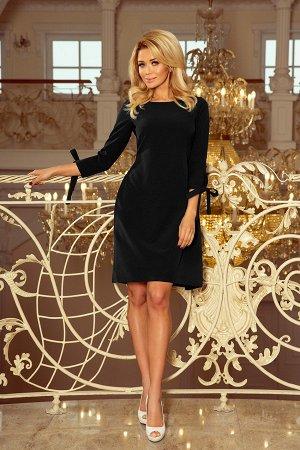Платье NUMOCO 195-8  Элегантное расклешенное платье с бантами на рукавах и завязками в талии. Рост модели на фото 170 см. Состав