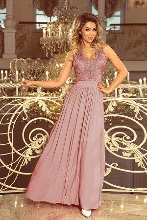Платье NUMOCO 215-5 тауп  Макси-платье с  вышитым декольте. Без рукавов. Платье красиво раскрывает декольте и спину. Кружевной у