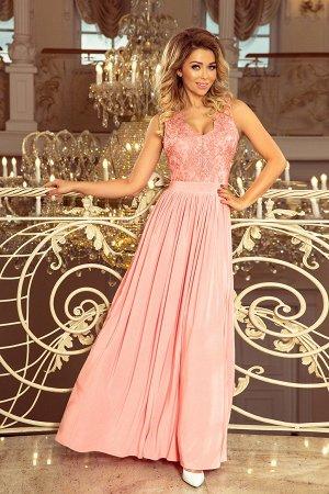 Платье NUMOCO 215-4 розовая пастель  Макси-платье с  вышитым декольте. Без рукавов. Платье красиво раскрывает декольте и спину.