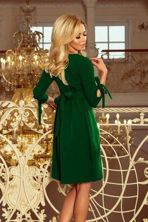 Платье NUMOCO 195-7  Элегантное расклешенное платье с бантами на рукавах и завязками в талии. Рост модели на фото 170 см. Состав