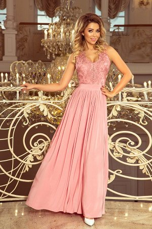 Платье NUMOCO 215-3 пудровый роз  Макси-платье с  вышитым декольте. Без рукавов. Платье красиво раскрывает декольте и спину. Кру