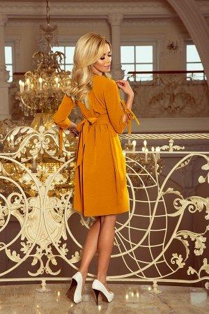Платье NUMOCO 195-6  Элегантное расклешенное платье с бантами на рукавах и завязками в талии. Рост модели на фото 170 см. Состав