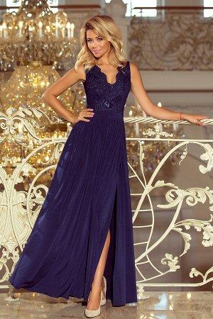 Платье NUMOCO 215-2 тёмно-синий  Макси-платье с  вышитым декольте. Без рукавов. Платье красиво раскрывает декольте и спину. Круж