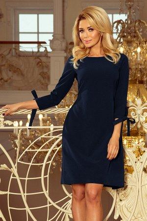 Платье NUMOCO 195-5  Элегантное расклешенное платье с бантами на рукавах и завязками в талии. Рост модели на фото 170 см. Состав