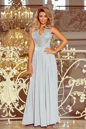 Платье NUMOCO 215-1 серебро  Макси-платье с  вышитым декольте. Без рукавов. Платье красиво раскрывает декольте и спину. Кружевно