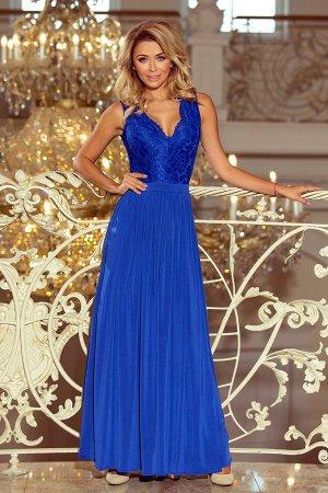 Платье NUMOCO 211-3  Макси-платье с кружевным вырезом. Без рукавов. Платье нежно раскрывает плечи, красиво обнажает декольте и с