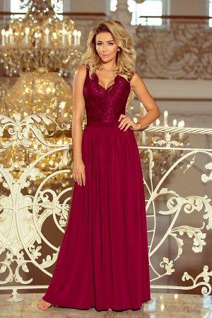 Платье NUMOCO 211-2  Макси-платье с кружевным вырезом. Без рукавов. Платье нежно раскрывает плечи, красиво обнажает декольте и с