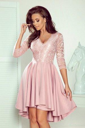 Платье NUMOCO 210-11  Асимметричное эксклюзивное платье с удлинённой спинкой, рукавом 3/4, вырезом и кружевом. Юбка идеально под