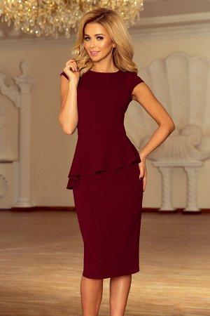 Платье NUMOCO 192-6 бордо  Элегантное платье-миди с асимметричной баской и небольшим коротким рукавом. Платье оптически сужает т