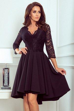 Платье NUMOCO 210-10  Асимметричное эксклюзивное платье с удлинённой спинкой, рукавом 3/4, вырезом и кружевом. Юбка идеально под