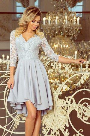 Платье NUMOCO 210-9  Асимметричное эксклюзивное платье с удлинённой спинкой, рукавом 3/4, вырезом и кружевом. Юбка идеально подо
