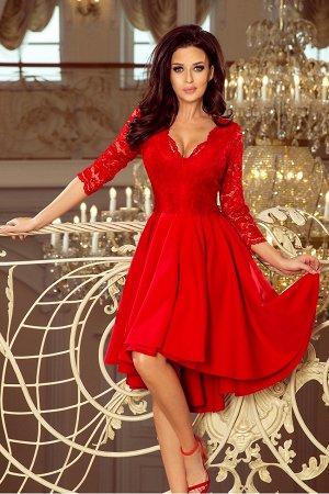 Платье NUMOCO 210-6  Асимметричное эксклюзивное платье с удлинённой спинкой, рукавом 3/4, вырезом и кружевом. Юбка идеально подо