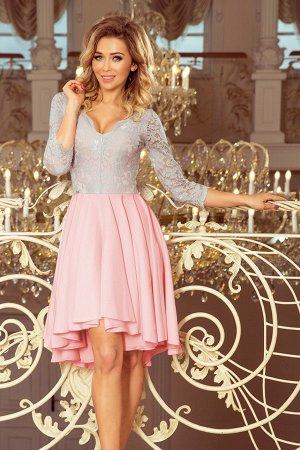 Платье NUMOCO 210-5  Асимметричное эксклюзивное платье с удлинённой спинкой, рукавом 3/4, вырезом и кружевом. Юбка идеально подо