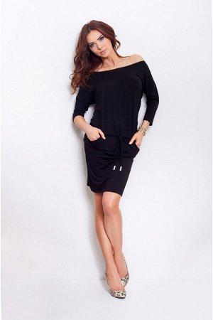 Платье NUMOCO 13-1a чёрный  Платье из гибкой вискозы польского производства. Спортивный стиль. Рукав 3/4. При выборе размера ори