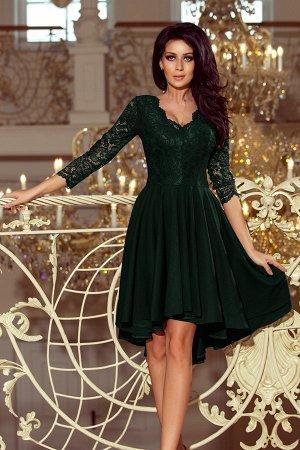 Платье NUMOCO 210-3  Асимметричное эксклюзивное платье с удлинённой спинкой, рукавом 3/4, вырезом и кружевом. Юбка идеально подо