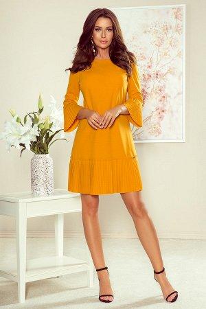 Платье NUMOCO 228-7  Красивое и скромное платье с нежными складками на рукавах и подоле юбке. Рост модели на фото 170 см. Состав