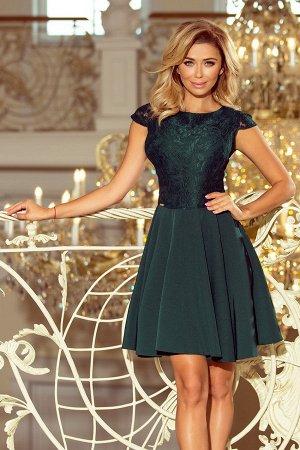 Платье NUMOCO 157-9  Расклешенное элегантное платье с кружевом и короткими рукавами. Кружевной узор на фото может отличаться от