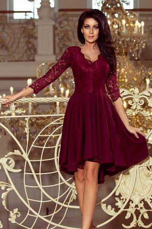 Платье NUMOCO 210-1  Асимметричное эксклюзивное платье с удлинённой спинкой, рукавом 3/4, вырезом и кружевом. Юбка идеально подо