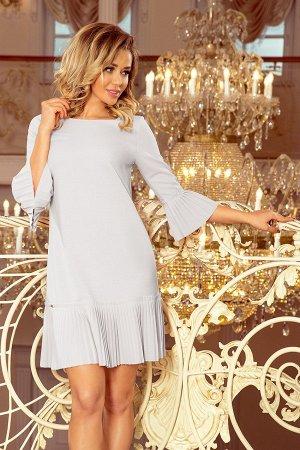 Платье NUMOCO 228-6  Красивое и скромное платье с нежными складками на рукавах и подоле юбке. Рост модели на фото 170 см. Состав