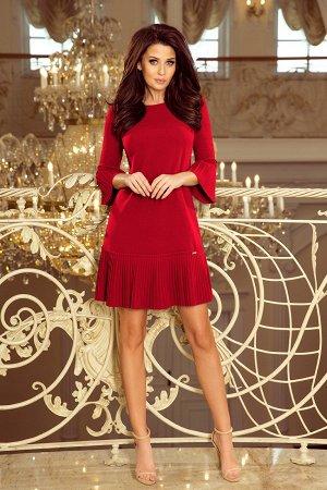 Платье NUMOCO 228-4 бордо  Красивое и скромное платье с нежными складками на рукавах и подоле юбке. Рост модели на фото 170 см.