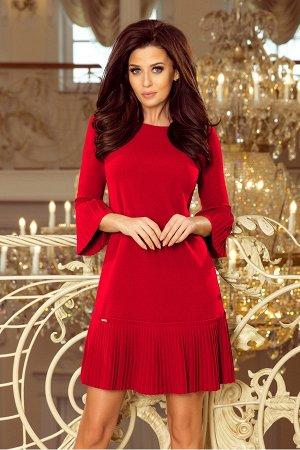 Платье NUMOCO 228-3 красный  Красивое и скромное платье с нежными складками на рукавах и подоле юбке. Рост модели на фото 170 см