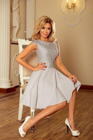 Платье NUMOCO 157-6  Расклешенное элегантное платье с кружевом и короткими рукавами. Кружевной узор на фото может отличаться от