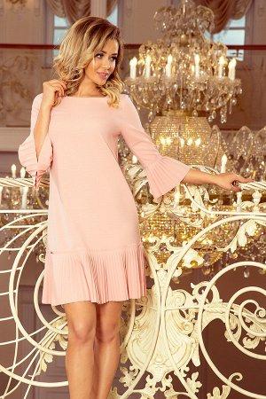 Платье NUMOCO 228-1  Красивое и скромное платье с нежными складками на рукавах и подоле юбке. Рост модели на фото 170 см. Состав