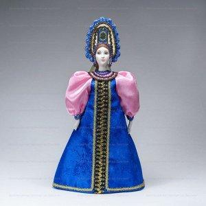 Сувенирная кукла в синем сарафане с розовыми рукавами