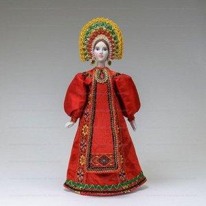 Сувенирная кукла в красном сарафане с передником