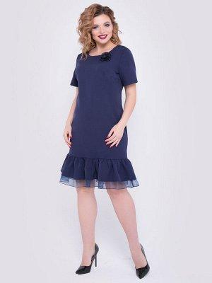 SALE Платье А-образного силуэта из плательной ткани т.синего цвета. - горловина на внутренней обтачке, оформлена круглым вырезом - рукава втачные короткие - низ платья декорирован объемными воланами и