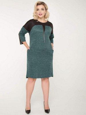 Платья Платье прямого силуэтавыполнено из комбинированного трикотажного полотна. - круглая горловина на внутренней обтачке - котрастная кокетка по переду декорирована металлической молнией - пройма з