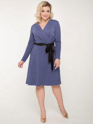 Платье Нарядное платье приталенного силуэта с элементом запаха из трикотажа с люрексом. - однотонная расцветка - V - образный вырез горловины - рукава втачные длинные - отрезная линия талии - по перед