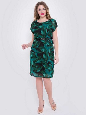 """Платье Элегантное платье А-силуэта из шифона насыщенного цвета с принтом """"листья"""", на трикотажном подкладе. -круглый вырез горловины -короткие цельнокроенныые рукава - подол ровный без разрезов - ре"""