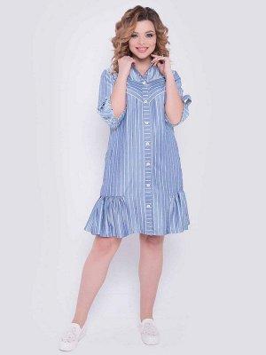 Платья Оригинальное платье А-силуэтавыполнено из вискозной ткани в полоску. - горловина оформлена отложным воротником на стойке - по переду планка с застежкой на петли-пуговицы - втачные рукава длин