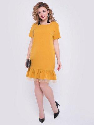 SALE Платье А-образного силуэта из плательной ткани горчичного цвета. - горловина на внутренней обтачке, оформлена круглым вырезом - рукава втачные короткие - низ платья декорирован объемными воланами