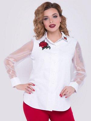 SALE Нарядная рубашка полуприлегающего силуэта из вискозного полотна и органзы белого цвета. - горловина оформлена отложным воротничком на стойке - рукава втачные длинные на манжете из органзы - по пе