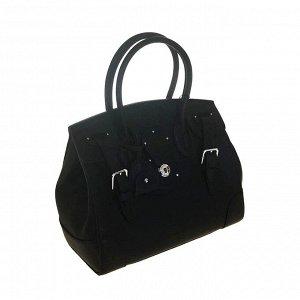 Эффектная женская сумочка Ralph_Find из плотной натуральной кожи черного цвета.