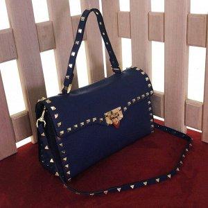 Стильная сумка Diadem из матовой мелкозернистой кожи цвета темный индиго.