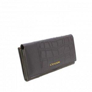 Стильный женский полноразмерный кошелек Cossni_Corle из натуральной кожи графитового цвета.