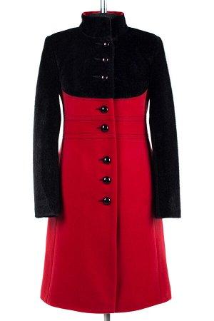 02-1652 Пальто женское утепленное Кашемир/Искусственная нерпа красный