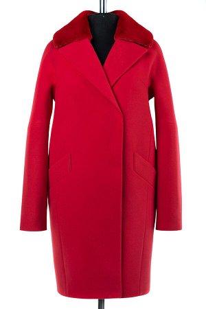02-2075 Пальто женское утепленное Кашемир красный