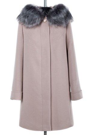 02-1728 Пальто женское утепленное Пальтовая ткань пудра