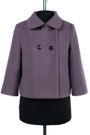 01-07779 Пальто женское демисезонное Пальтовая ткань Сирень