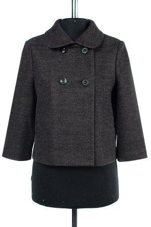01-07775 Пальто женское демисезонное валяная шерсть темно-серый