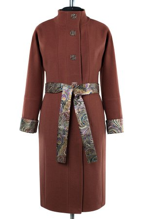 01-8019 Пальто женское демисезонное (пояс) Кашемир коричнево-терракотовый