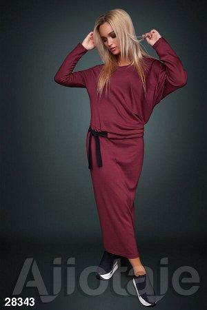 Платье макси бордового цвета с длинным рукавом