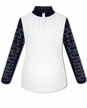 Белая блузка с синим гипюром для девочки Цвет: белый