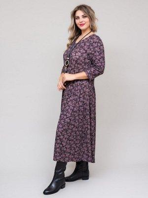 Платье Пион черный лиловый